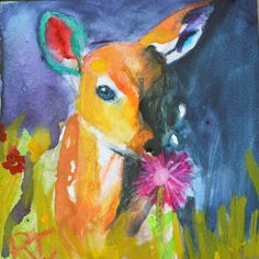 """""""Fawn"""", Watercolor"""