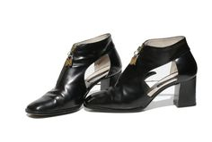 Italian Black Leather Cut Out  Zipper Ankle Boots by TanakaVintage, $139.00