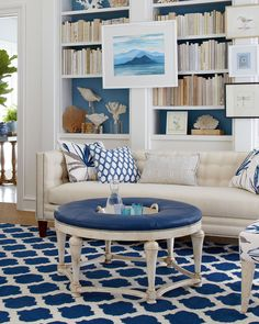 your best home design, bedroom design, garden design, living room design, etc Coastal Bedrooms, Coastal Living Rooms, My Living Room, Living Room Interior, Living Room Decor, Coastal Cottage, Blue Rooms, Beach House Decor, White Decor