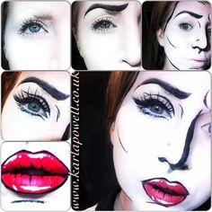 Pop art face paint make up halloween makeup Ideas Pop Art Makeup, Sfx Makeup, Costume Makeup, Art Costume, Comic Makeup, Cartoon Makeup, Pop Art Kostüm, Make Up Art, How To Make