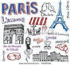 Paris vector doodles - stock vector