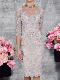Two Piece Sheath / Column Mother of the Bride Dress Elegant Illusion Neck Knee Length Lace 3/4 Length Sleeve with Embroidery 2020 2020 - US $195.99 Mother Of Groom Dresses, Mother Of The Bride, Bride Dresses, Wedding Dresses, Stunning Dresses, Elegant Dresses, Formal Dresses, 40th Wedding Anniversary, One Piece Dress