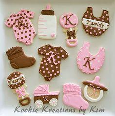 Pink brown baby shower cookies - Kookie Kreations by Kim