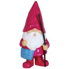 Exhart Magenta Resin Woodland Gnome Statue (Pink), Outdoor Décor
