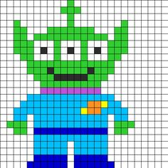 Toy Story Alien Perler Bead Pattern | Bead Sprites | Characters Fuse Bead Patterns