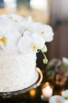 Orchid topped cake: http://www.stylemepretty.com/living/2015/07/06/elegant-bistro-baby-shower/ | Photography: JL Photographers - http://jl-photographers.com/