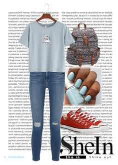 """""""Blue Dog Print T-shirt"""" by pink-wednesdays ❤ liked on Polyvore featuring Oris, Converse, Aéropostale and Frame Denim"""