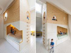 This Kids Room Has A Custom Designed Double Bed And Lofted Play Space Photography by Luc Roymans When Van Staeyen Interior Architects were tasked with designing a kids bedroom in old mansion nbsp hellip Play Beds, Kid Beds, Modern Kids Bedroom, Wood Bunk Beds, Minimalist Kids, Playroom Design, Double Beds, Bed Design, Storage Spaces