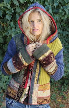 This Hoodie Medieval Mongol Jacket is by Nora, who does terrific upcycling
