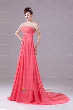 128.00$  Buy here - http://vibzj.justgood.pw/vig/item.php?t=ugqngs249591 - Coral Strapless Pleated Beaded Chiffon Prom Dresses With Trains 128.00$