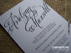 Chic Calligraphy Wedding Invitations by Flamboyant Designs | VIA #WEDDINGPINS.NET