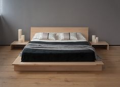 Japanese style bed design ideas low platform bed low headboard nightstand