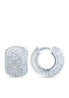 Angara Triple-Row Diamond Studded Huggie Hoop Earrings in Platinum hlzYc1J
