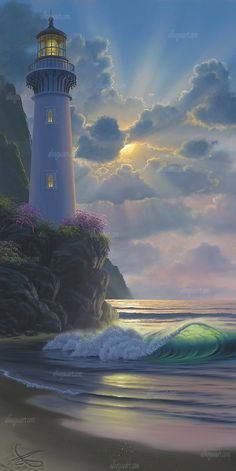 """Heaven's Glory"" Available on limited edition Giclee on canvas Nature Pictures, Beautiful Pictures, Heaven Images, Lighthouse Painting, Lighthouse Pictures, Light Of The World, Seascape Paintings, Fantasy Landscape, Mountain Landscape"