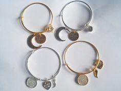 Love Bracelet, Druzy Bracelet, Charm Bangle, Charm bracelet by blackjadecrafts on Etsy