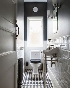 Wall mirror white floors Ideas for 2019 Small Downstairs Toilet, Small Toilet Room, New Toilet, Gothic Living Rooms, Guest Bathroom Remodel, Art Deco Bathroom, Victorian Bathroom, Small Showers, Bath Tiles