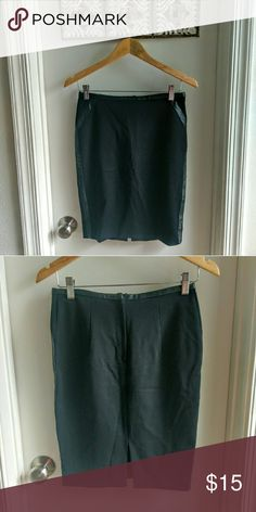 H&M  pencil skirt with faux leather sides Great wardrobe staple black pencil skirt... With faux leather detail on the side and waist.  Length: 20 in. H&M Skirts Pencil