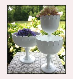 Vintage Milk Glass Compotes Celebrate Good Times Wedding