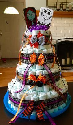 Nightmare Before Christmas diaper cake made for my nephew's baby shower.
