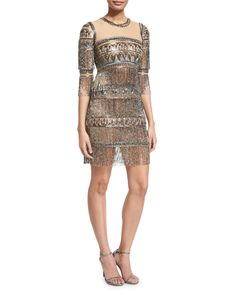 Naeem Khan | Gold 3/4-sleeve Embroidered Fringe Cocktail Dress | Lyst $6990 Naeem Khan art-deco beaded illusion cocktail dress. Round neckline; sheer yoke; keyhole back. Three-quarter sleeves. Fitted silhouette. Tiered, fringed skirt. Hidden back zip. Nylon; silk lining. Made in the USA. Color: GUNMETAL