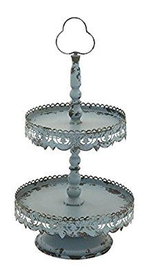 "Deco 79 65373 Metal 2 Tier Tray, 12"" x 24"""