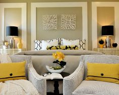 I have the lamps featured in this room. Funny story about them. Anyway, the textures and the color scheme is amazing! via Houzz