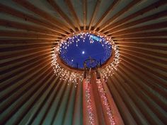 who doesnt want to see the moon through a yurt window? who doesnt want to see the moon through a yurt window? Yurt Living, Tiny Living, Casa Yurt, Yurt Interior, Yurt Home, Through The Roof, Twinkle Lights, Icicle Lights, Twinkle Twinkle