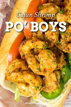 These grilled shrimp po' boys will make you feel like you are in New Orleans. Extra spicy with some Cajun seasonings and a zesty remoulade sauce. Spicy Chicken Recipes, Cajun Recipes, Seafood Recipes, Healthy Recipes, Healthy Food, Spicy Salmon, Spicy Shrimp, Grilled Shrimp, Etouffee Recipe