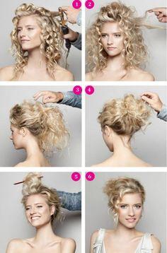 coiffure facile à faire cheveux frisés: chignon décoiffé