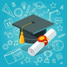 University student cap mortar board and diploma Free Vector