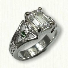 Standard Marishelle Engagemet Ring set with a 7.5 x 5.5 mm Emerald Cut Diamond with two side green diamonds