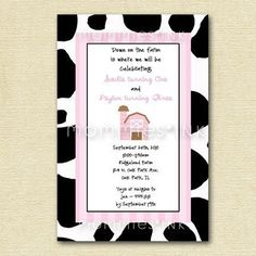 Cow Print Pink Farm Birthday Party Invitation  by MommiesInk, $12.00