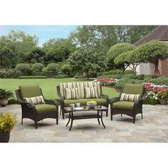 Better Homes And Gardens Amelia Cove 4 Piece Woven Patio Conversation Set Seats