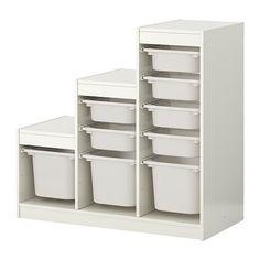 IKEA - TROFAST, Opbergcombinatie met bakken, , Een speelse en stevige opbergserie voor het opbergen en ordenen van al het speelgoed, en waar je op kan zitten/spelen.</t><t>Het basiselement heeft glijlijsten, zodat je lades en planken naar wens kan plaatsen - en ook weer kan vérplaatsen.</t><t>In een lage opberger kunnen kinderen zelf hun spullen pakken en weer opruimen.