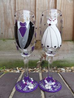 Personalised hand painted Glass Champagne Flutes bride and groom wedding | Other Wedding Supplies | Wedding Supplies - Zeppy.io