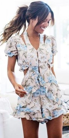 #summer #beach #outfits | Floral Romper