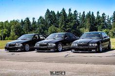 Trio of black BMW's e36