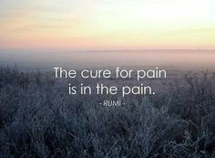 The cure for pain is in the pain ~Rumi