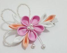 Pinza de pelo de flores Kanzashi o broche por IwoRossa en Etsy