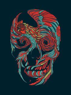 Rooster Skull  Art Print
