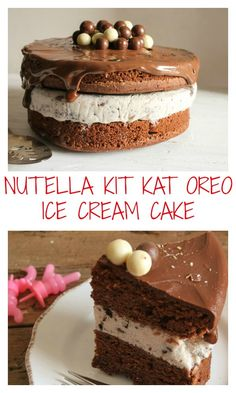 A fast and easy Homemade ice cream birthday cake.  Delicious Nutella and Oreo frozen dessert recipe for a boy, girl or teen, perfect for a summer birthday party./anitalianinmykitchen.com