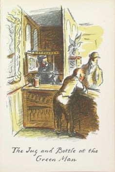 Edward Ardizzone - The Jug and Bottle at the Green Man From The Local, a series of lithographs depicting London pubs. Edward Ardizzone, London Pubs, Green Man, The Locals, Painters, Illustrator, Watercolor, Fine Art, Bottle