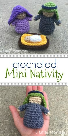 a mini crochet nativity set, about 4 inches tall, including Mary, Joseph, and Baby Jesus in a little manger.