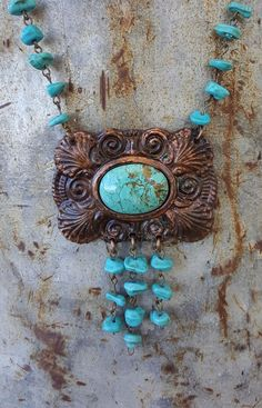 COWGIRL BLING NECKLACE VINTAGE TURQUOISE  ARTISAN CRAFTED IN USA Gypsy #ataggirl #NECKLACE