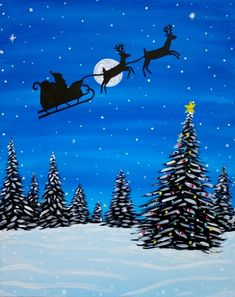 Join us for a Paint Nite event Wed Aug 2016 at 19 Salem Avenue Roanoke, VA. Purchase your tickets online to reserve a fun night out! Christmas Scenery, Christmas Landscape, Christmas Night, Christmas Art, Tole Painting, Diy Painting, Image Bleu, Christmas Drawing, Christmas Pictures To Draw