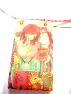 my kitty is my best friend  decoupage pendant   by mayasfairytale, $15.00