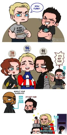 vtophya: When (sexy) grandparents look younger than you… Tony looks soooooo cute in the first panel, Adorable pinch-y cheeks…. Awwww(btw the ages are according to comics). Funny Marvel Memes, Marvel Jokes, Avengers Humor, Dc Memes, Funny Comics, Marvel Comics, Marvel Heroes, The Avengers, Baby Avengers