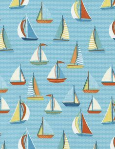 Sail Boats fabric in Aqua from the Splish Splash Collection by Gail Cadden for Timeless Treasures Fabric yardage or fat quarters by fabric2goStudio on Etsy