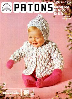 Vintage 1976 Patons Baby Knitting Pattern for Hooded Bobble Pram Coat to Knit for sale online Knitting Wool, Vintage Knitting, Double Knitting, Baby Knitting Patterns, Baby Patterns, Crochet Patterns, Pram Sets, Baby Coat, Baby Cardigan
