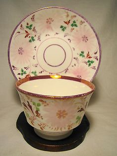 Staffordshire Soft Paste Porcelain Pink Lustre Dahlia Cup & Saucer 19th c